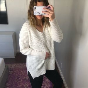 Sweaters - Oversized Chunky Knit White V Neck Sweater